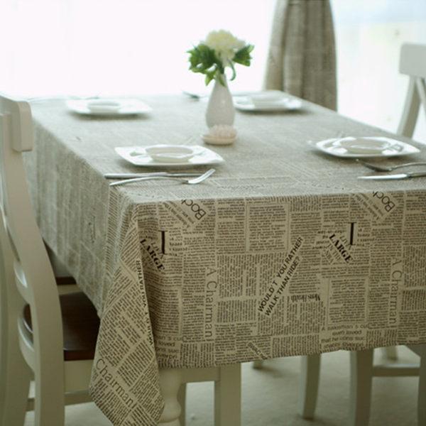 PS Mall 英文報紙系列棉麻餐桌布100*140cm 【J220】