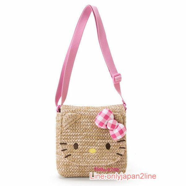 【真愛日本】17033100020 斜背編織包-KT臉粉格+AAI 三麗鷗 Hello Kitty 凱蒂貓 側背包 包包