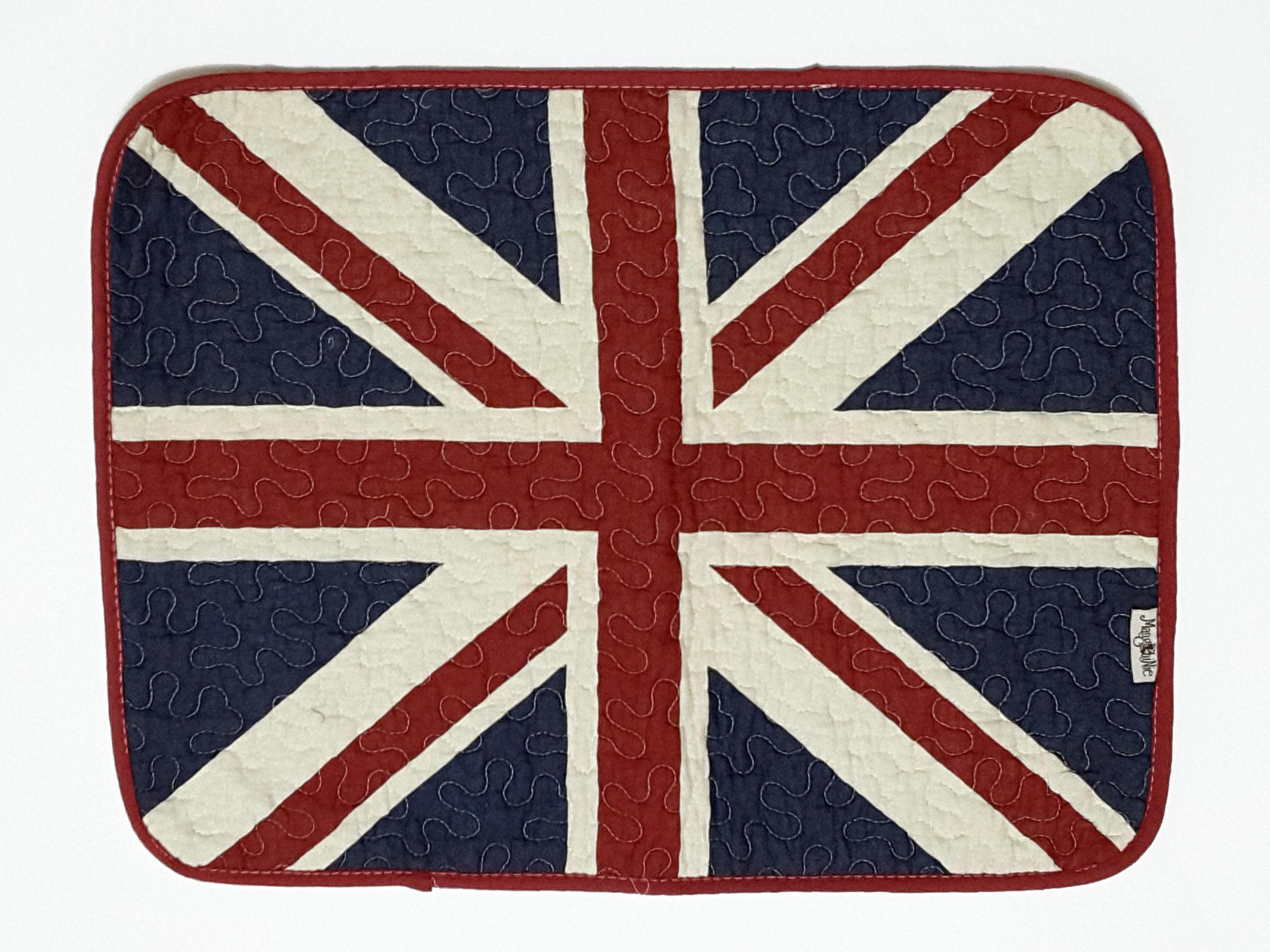 La maison 小舖~簡約國旗拼布地墊腳踏墊~英國國旗圖案 吸水防滑 清洗方便 寵物毛