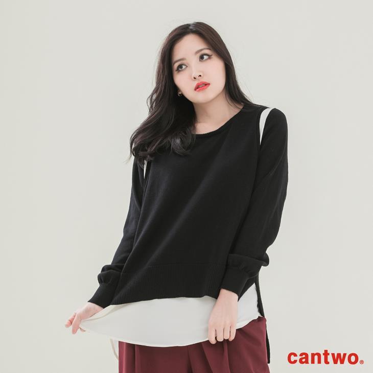 cantwo雪紡拼接假兩件針織上衣(共三色) 1