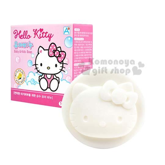 〔小禮堂韓國館〕Hello Kitty 嬰兒肥皂《白.大臉.粉盒裝》金盞花香