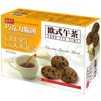 盛香珍 l 歐式午茶巧克力脆餅180gX10盒入 箱 ~可吃到巧克力豆的脆餅 好吃~