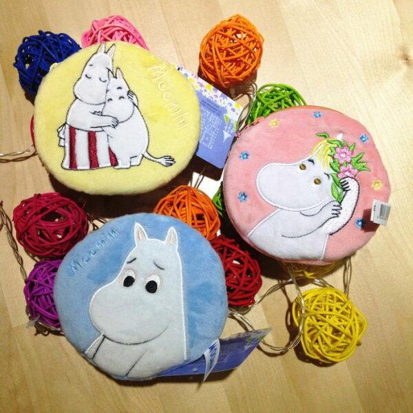 超可愛嚕嚕米小河馬卡通零錢包收納包刺繡圓形零錢包收線包雜物包交換禮物