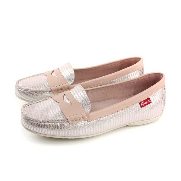 Kimo懶人鞋平底鞋女鞋粉紅色條紋K18SF117067no730