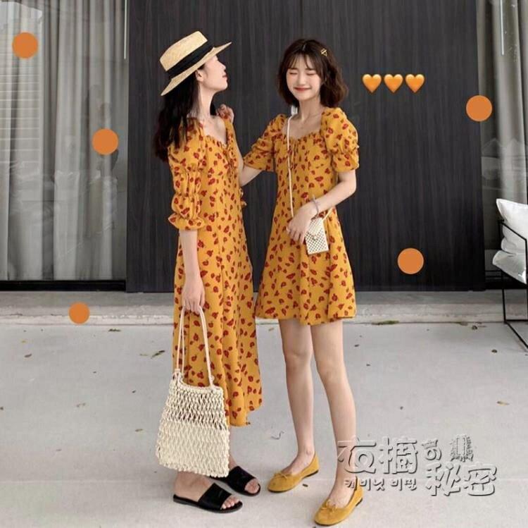 閨蜜裝花色法式洋裝新款夏季韓版學生復古方領氣質女士裙子