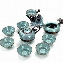 開片瓷器哥窯陶瓷整套功夫茶具套裝高檔禮盒裝-7501015