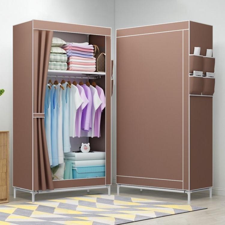 創意空間站 布衣櫃長69寬41高150cm簡約捲簾衣架布藝單人防塵衣櫥掛大衣小型ATF