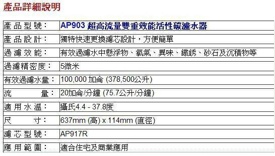 3M AP903全戶式過濾系統替換濾心(AP917HD*1+AP810溝槽式前置PP濾心*2)