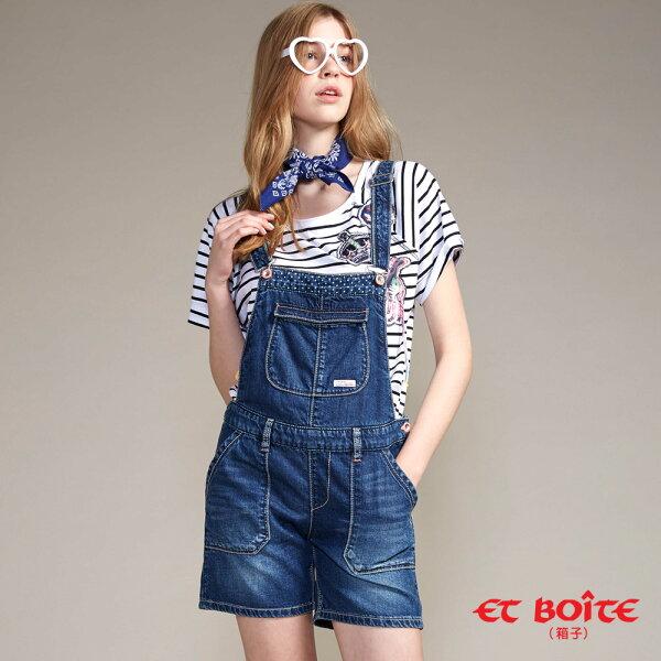 【春夏新品】俏皮風吊帶牛仔短褲(牛仔藍)-BLUEWAYETBOiTE箱子