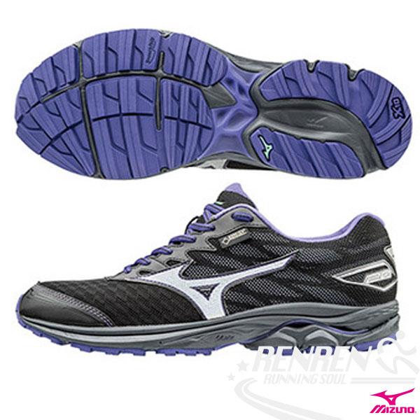 MIZUNO 美津濃 WAVE RIDER 20 G-TX 女慢跑鞋Q (黑*銀白) 暢銷鞋款 新雲波浪片