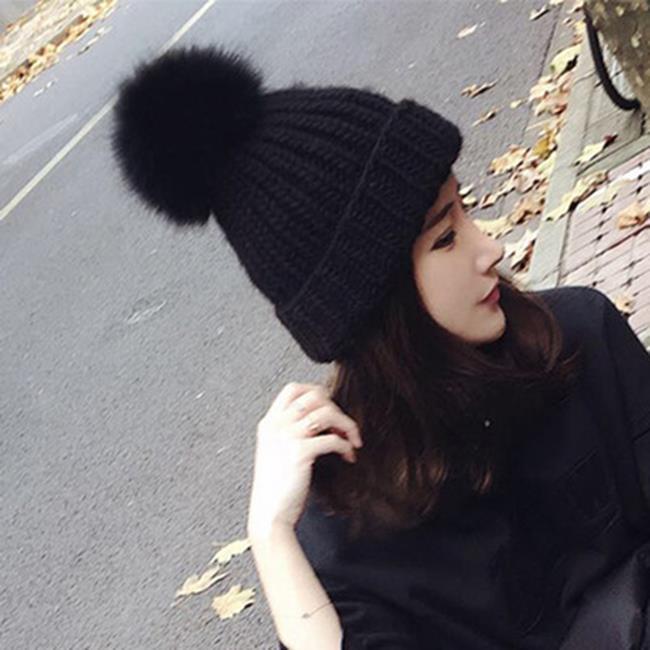 50%OFF【E019944WH】韓國秋冬新款狐狸毛球女士針織帽子女 親子款狐狸毛帽女毛線帽