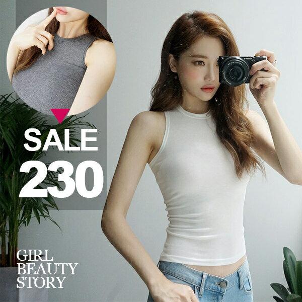 SiSi Girl:SISI【V7039】休閒美腰百搭露肚臍短款圓領半截緊身小可愛修身無袖T恤上衣