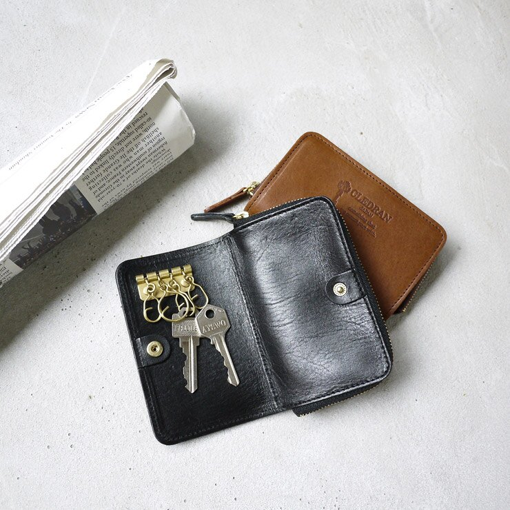 日本?木苯染植鞣軟牛皮隨身鑰匙零錢包 Made in Japan by CLEDRAN