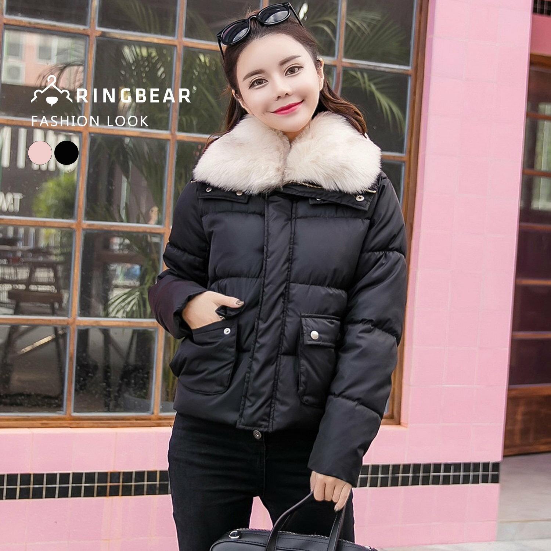 保暖外套--奢華貴氣高效暖意可拆式毛毛領排扣雙口袋羽絨棉外套(黑.粉L-3L)-J315眼圈熊中大尺碼 1