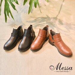 【Messa米莎專櫃女鞋】MIT時尚俐落扣環繫帶低跟短靴-二色