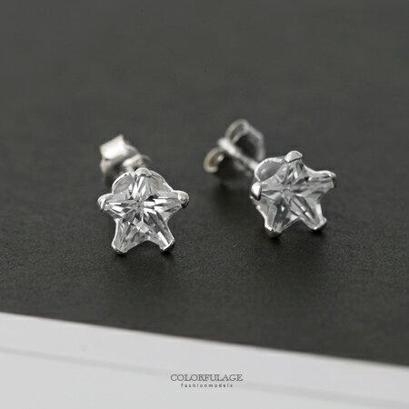 925純銀耳針耳環 經典閃亮水鑽星星造型4mm/6mm耳環 抗過敏抗氧化 柒彩年代【NPD5】一對價格