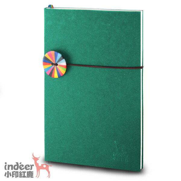 【indeer小印紅鹿】超輕手感 法式質感素色封面 手工製作 │ 巴黎小日光筆記本-孔雀綠