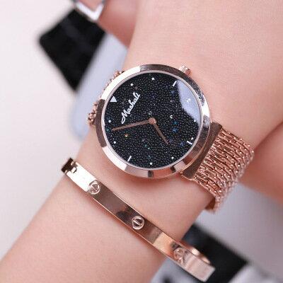 美琪 (簡約時尚)분위기大氣手鏈手鐲팔찌防水個性時裝手錶高檔鋼帶石英女錶