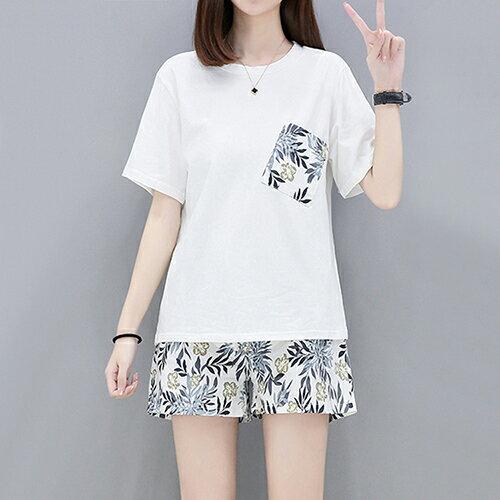 針織T恤+短褲兩件套裝(圖片色XL~5XL)*ORead* - 限時優惠好康折扣
