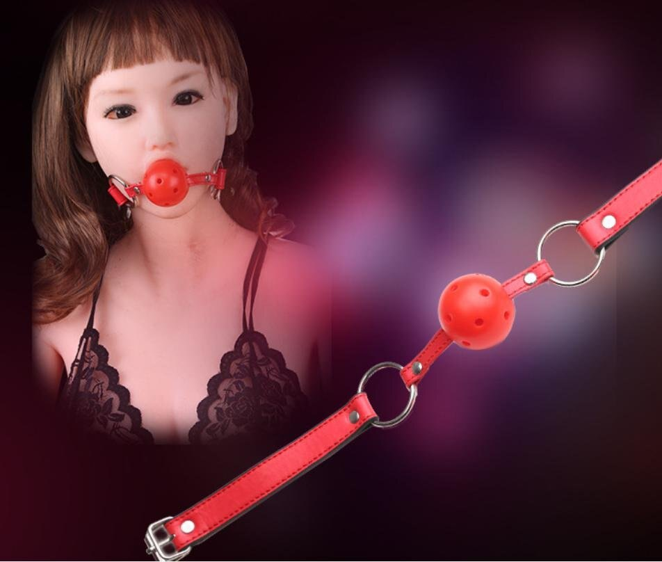 M381 成人用品紅色皮革縫線質感口塞情趣另類玩具皮革口球口枷SM調教玩具