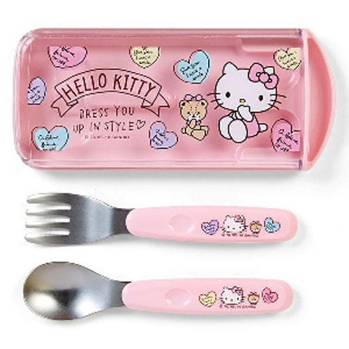 【百倉日本舖】日本製 Hello Kitty兒童餐具組(愛心)