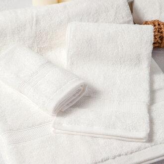 【MORINO摩力諾】美國棉素色緞條浴巾-白色