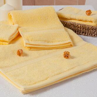 【MORINO摩力諾】美國棉素色緞條浴巾-黃色