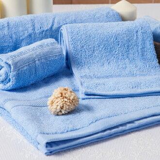 【MORINO摩力諾】美國棉素色緞條浴巾-水藍