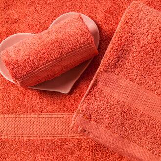 【MORINO摩力諾】美國棉素色緞條浴巾-紅色