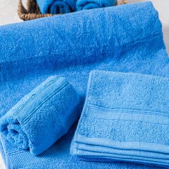 【MORINO摩力諾】美國棉素色緞條浴巾-藍色