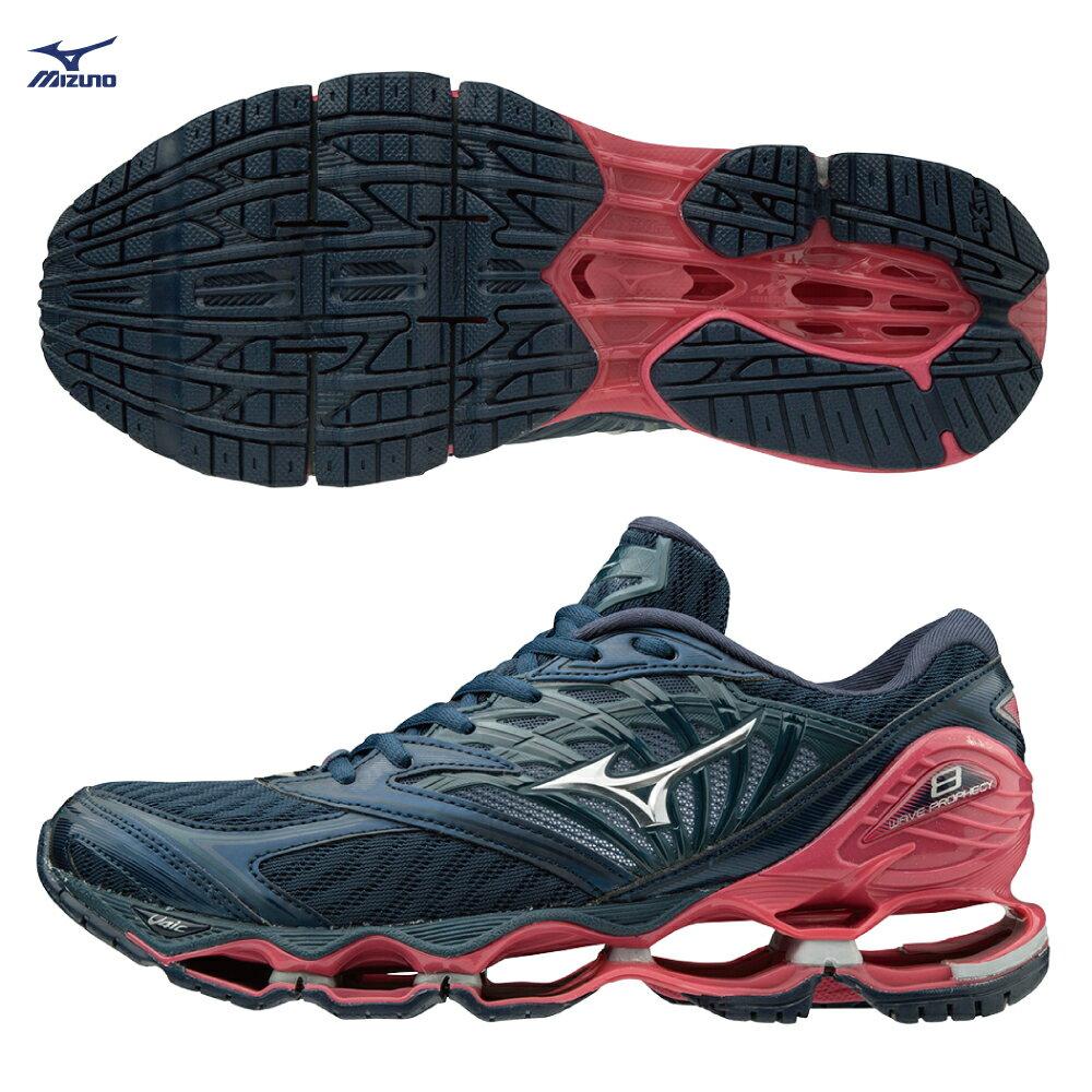WAVE PROPHECY 8 一般型女款慢跑鞋 J1GD190003(黑灰X銀X桃紅)【美津濃MIZUNO】 0