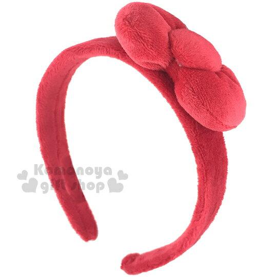〔小禮堂〕Hello KItty 絨毛髮箍《紅.立體蝴蝶結》居家.派對適用