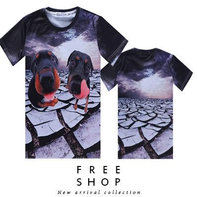 《全店399免運》Free Shop【QFSLY3335】日韓美式龜裂荒地大頭狗滿版印刷圓領棉質短T短袖上衣潮T