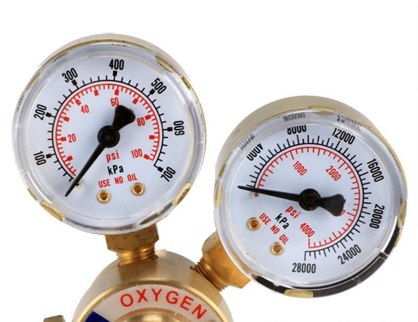 Rear Mount Oxygen Gas Welding Welder Brass Regulator Pressure Gauge 5