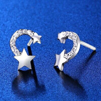 925純銀耳環鑲鑽耳飾~ 迷人流星 情人節生日 女飾品73hk52~ ~~米蘭 ~
