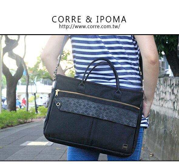 CORRE【PR006】經典手提斜背兩用包 深層黑/個性藍兩色