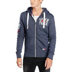 美國百分百【全新真品】Superdry 極度乾燥 連帽 外套 夾克 帽T 棉質 刷毛 拉鍊 藏藍 L號 H737