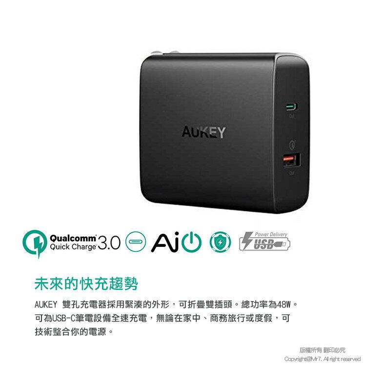 【AUKEY】QC PD 48W 快速充電器 支援 iPhone18W快充 蘋果PD QC3.0 QC2.0 急速充電頭 USB Type-C 雙輸出 BSMI認證_PA-Y11