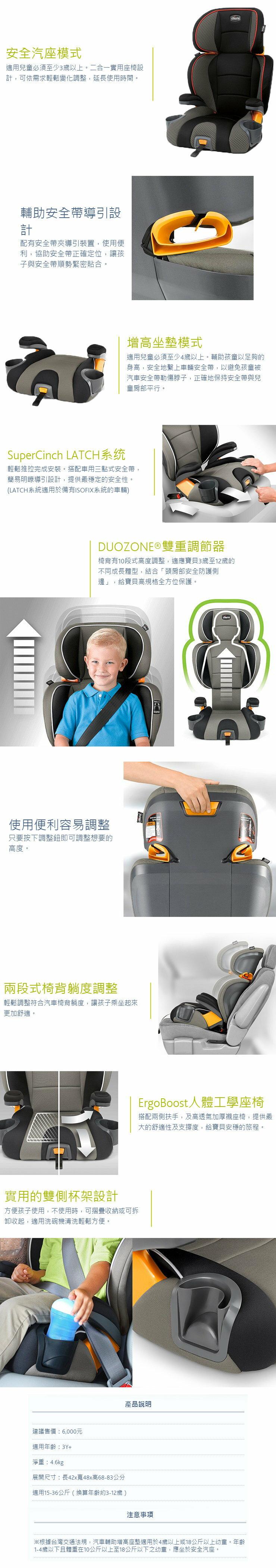 Chicco KidFit成長型安全汽座(風格黑) 4280元 3
