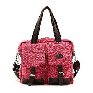 【Gardi】雙口袋翻蓋大容量實用包(梅紅色)