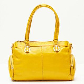 【Ve vitalise】兩側口袋拉鍊造型時尚包(鵝黃色)