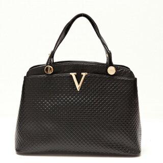 【Ve vitalise】V字型字母立體壓印時尚包(明星黑)