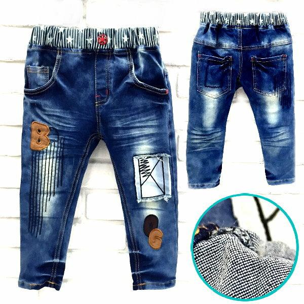 ~班比納 ~彈力腰星星直條紋BOG刷白牛仔褲~藍~BN150915009~