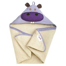 【淘氣寶寶】加拿大 3 Sprouts 連帽浴巾-小河馬【可當作被毯、包巾或浴巾,一巾三用】【保證公司貨】