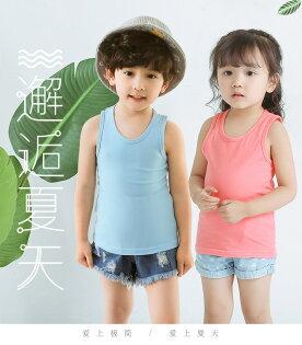 純色超彈力無袖背心兒童背心多色童裝夏裝