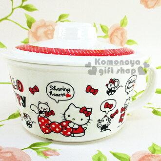 〔小禮堂〕Hello Kitty 美耐皿杯麵碗《白底.紅蝴蝶結.動物好朋友.盒裝》不可微波