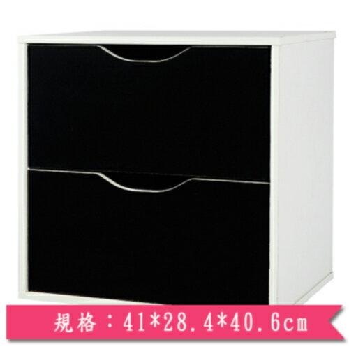 魔術方塊雙層抽屜收納櫃-黑【愛買】
