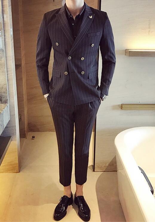 FINDSENSE品牌 韓國男 經典條紋雙排扣 小西裝 修身西裝 西裝外套 單件外套