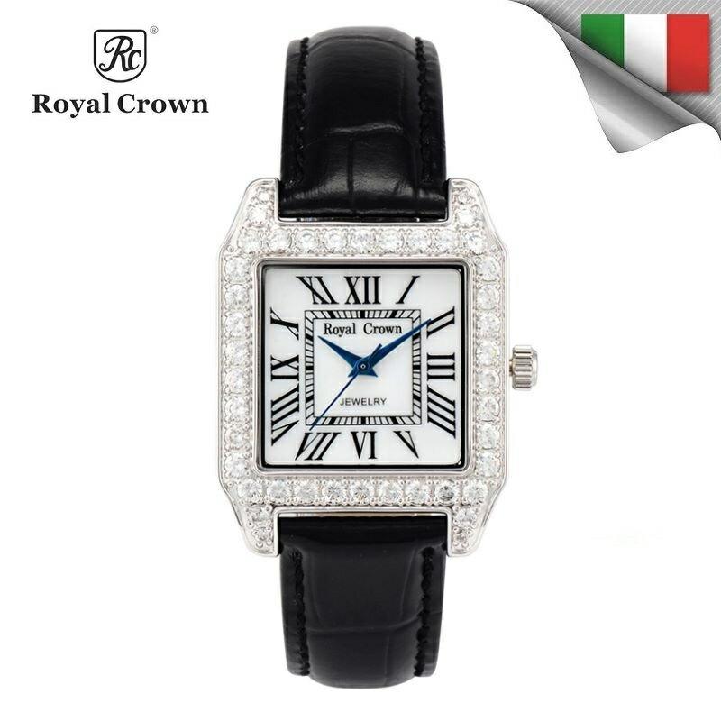 日本機芯 經典方形氣質鑲鑽石英女錶 真皮錶帶 多色可選 6104P免運費 義大利品牌精品手錶 蘿亞克朗 Royal Crown 極品風韻