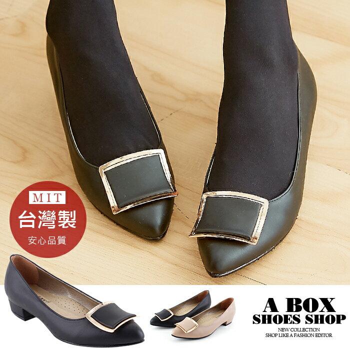 【KD662】2.5CM粗低跟尖頭包鞋 低跟鞋 柔軟舒適乳膠鞋墊 MIT台灣製 2色